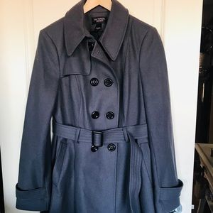 Wool type double breasted trench coat